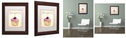 "Trademark Global Jennifer Nilsson Cherry Cupcake Matted Framed Art - 18"" x 24"" x 2"""