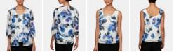 Alex Evenings Petite Floral-Print Jacket & Top Set