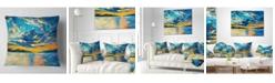 "Design Art Designart 'Orange Sunset With Blue Sky' Modern Painting Throw Pillow - 16"" x 16"""