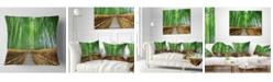 "Design Art Designart 'Path To Bamboo Forest' Landscape Photography Throw Pillow - 16"" x 16"""
