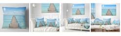 "Design Art Designart 'Pier Infinite To The Sea' Seascape Throw Pillow - 16"" x 16"""