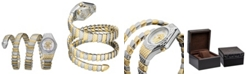 Roberto Cavalli By Franck Muller Women's Diamond Swiss Quartz Two-Tone Gold Stainless Steel Snake Wrap Bracelet, 23mm