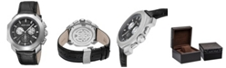 Roberto Cavalli By Franck Muller Men's Swiss Chronograph Black Calfskin Leather Strap Watch, 44mm
