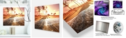 "Design Art Designart 'Colorful Tropical Beach With Palms' Modern Beach Metal Wall Art - 20"" X 12"""