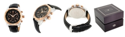 Joseph Abboud Men's Analog Black and Gold Leather Strap Watch 28mm