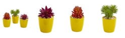 "Nearly Natural 9"" Mixed Succulent Artificial Plant in Yellow Vase (Set of 3)"