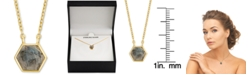 """Macy's Labradorite Hexagon 18"""" Pendant Necklace in 18k Gold-Plated Sterling Silver"""