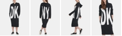 DKNY Cotton Logo-Graphic Hoodie Dress
