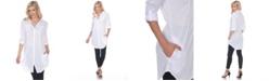 White Mark Women's Lakota Stretchy Button-Down Tunic