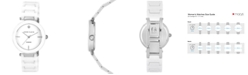 Anne Klein Women's Diamond Accent White Ceramic Bracelet Watch 33mm AK-1019WTWT