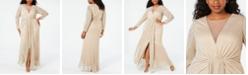 Betsy & Adam Plus Size Draped Illusion Metallic Gown