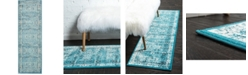 "Bridgeport Home Linport Lin1 Turquoise/Ivory 3' x 9' 10"" Runner Area Rug"
