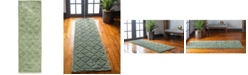 "Bridgeport Home Filigree Shag Fil2 Green 2' x 6' 7"" Runner Area Rug"