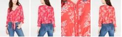 American Rag Juniors' Printed Tie-Front Crochet Top, Created for Macy's