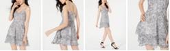 B Darlin Juniors' Python-Print Fit & Flare Dress