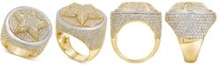 Macy's Men's Diamond Pavé Star Cluster Ring (6-3/4 ct. t.w.) in 10k Gold & 10k White Gold