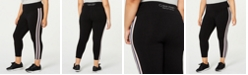 Calvin Klein Plus Size Striped High-Waist Leggings