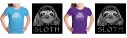 LA Pop Art Girl's Word Art T-Shirt - Sloth