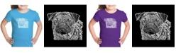 LA Pop Art Girl's Word Art T-Shirt - Pug Face
