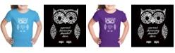 LA Pop Art Girl's Word Art T-Shirt - Owl
