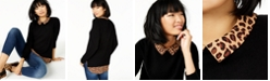 Charter Club Pure Cashmere Cheetah-Print Layered-Look Sweater, Regular & Petite Sizes, Created for Macy's