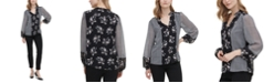 Calvin Klein Colorblocked Button-Up Blouse