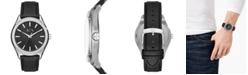 A|X Armani Exchange Men's Fitz Black Leather Strap Watch 44mm
