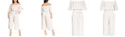 City Chic Trendy Plus Size Free Stripe Jumpsuit