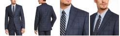 Calvin Klein Men's Slim-Fit Blue Plaid Suit Jacket