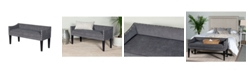 Leffler Home Whitney Long Upholstered Bench with Arms and Nailhead Trim