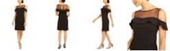 R & M Richards Petite Illusion-Yoke Cold-Shoulder Sheath Dress