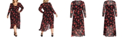 City Chic Trendy Plus Size Floral-Print High-Low Maxi Dress