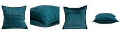 Parkland Collection Cyrene Transitional Teal Solid Quilted Pillow Cover