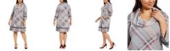 Robbie Bee Plus Size Plaid Cowlneck Sweater Dress