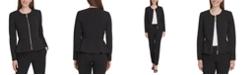 DKNY Zippered Peplum-Hem Jacket