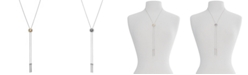"Lucky Brand Two-Tone Hematite-Pavé & Chain Tassel Reversible Lariat Necklace, 33"" + 2"" extender"