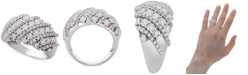 Macy's Diamond Diagonal Cluster Statement Ring (1/2 ct. t.w.) in Sterling Silver