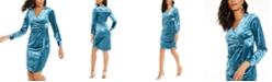 Thalia Sodi Side-Tie Velvet Surplice Dress, Created For Macy's