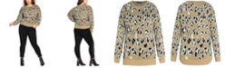 City Chic Trendy Plus Size Animal-Print Sweater