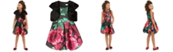 Speechless Big Girls 2-Pc. Faux-Fur Vest & Floral-Print Bubble Dress