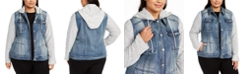 INC International Concepts INC Plus Size Knit-Sleeve Denim Jacket, Created For Macy's