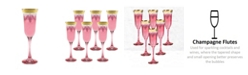 Lorren Home Trends Red Flutes with Gold Band - Set of 6