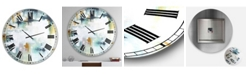 """Designart Teal and White Composition Large Modern Wall Clock - 36"""" x 28"""" x 1"""""""