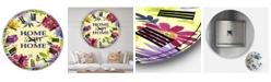 "Designart Home Sweet Home Flower Wreath Oversized Cottage Wall Clock - 36"" x 28"" x 1"""