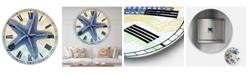 "Designart Chevron-Star Fish-7914 Large Nautical & Coastal Wall Clock - 36"" x 28"" x 1"""