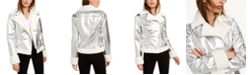 Bar III Faux-Fur-Trim Metallic Moto Jacket, Created For Macy's