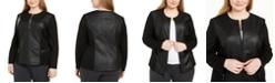 Alfani Plus Size Faux Leather & Ponté-Knit Moto Jacket, Created For Macy's