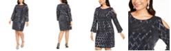 Jessica Howard Plus Size Metallic Cold-Shoulder Sheath Dress