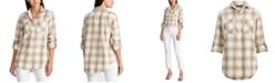 Lauren Ralph Lauren Petite Plaid Roll-Tab-Sleeve Shirt