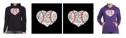 LA Pop Art Women's Word Art Hooded Sweatshirt -Baseball Mom